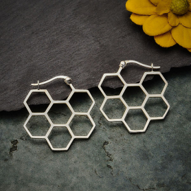 Sterling Silver Honeycomb Hoop Earrings 28x28mm