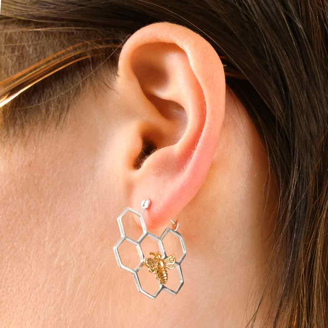 Silver Honeycomb Hoop Earrings with Bronze Bee 28x28mm
