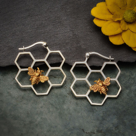 Silver Honeycomb Hoop Earrings with Bronze Bee 28x28mm