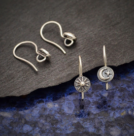 Sterling Silver Sun and Moon Ear Wires 18x6mm