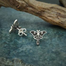 Sterling Silver Luna Moth Post Earrings 9x10mm