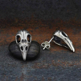 Sterling Silver Raven Skull Post Earrings 21x11mm