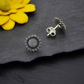 Sterling Silver Sunflower Post Earrings 10x10mm