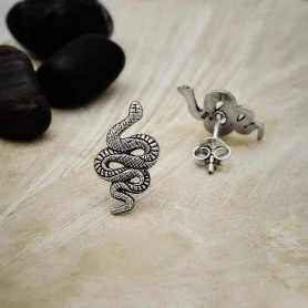 Sterling Silver Textured Snake Post Earrings 16x8mm