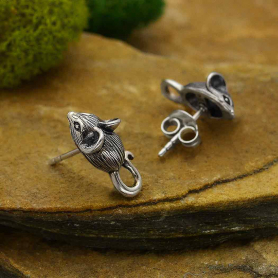 Sterling Silver Mouse Post Earrings 16x8mm