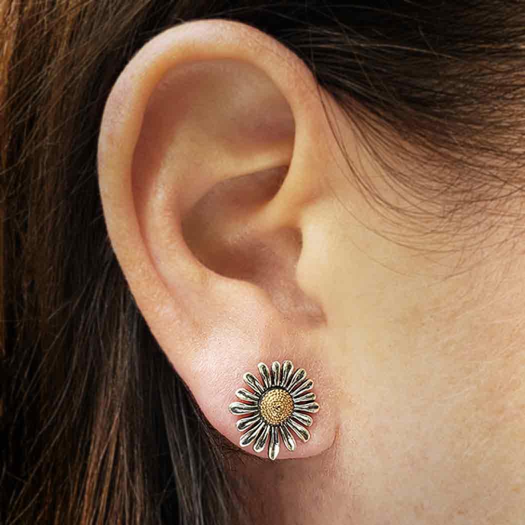 Mixed Metal Daisy Post Earrings 13x13mm