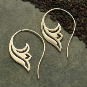 Sterling Silver Lotus Scroll Earring - Yoga Jewelry
