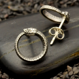 Sterling Silver Ouroboros Post Earrings 12x12mm