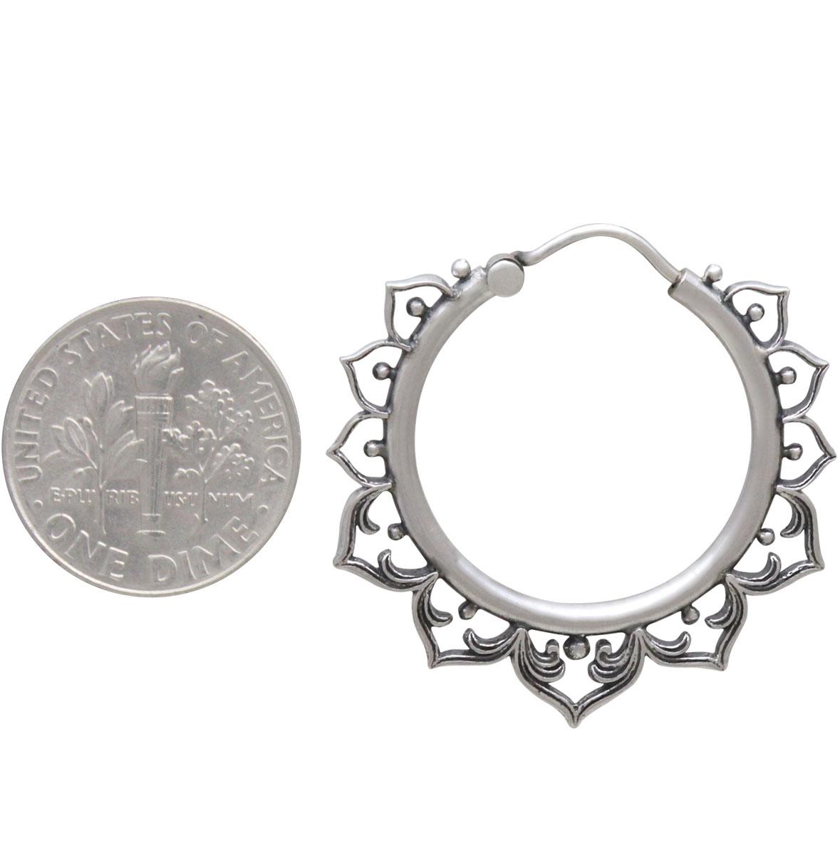 Sterling Silver Hollow Lotus Hoop Earrings 31x31mm