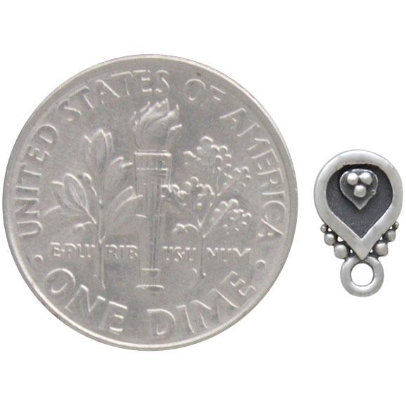 Sterling Silver Decorated Teardrop Post Earrings 8x5mm