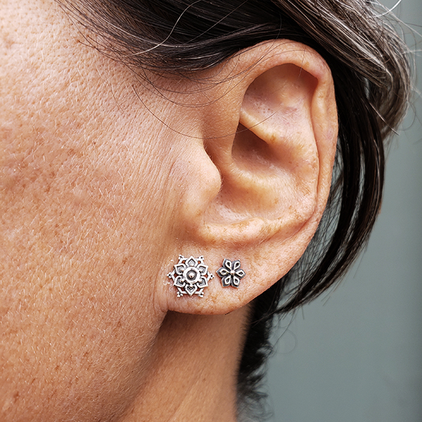 Sterling Silver Mandala Stud Earrings 10x10mm