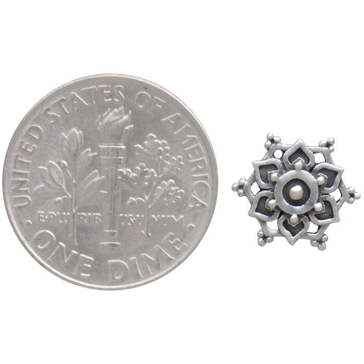 Sterling Silver Mandala Stud Earrings 10x10mm
