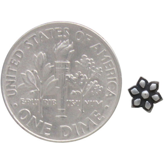 Sterling Silver Tiny Mandala Flower Post Earrings 5x5mm