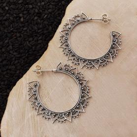 Sterling Silver Hoop Earrings with Mandala Petals 36x36mm
