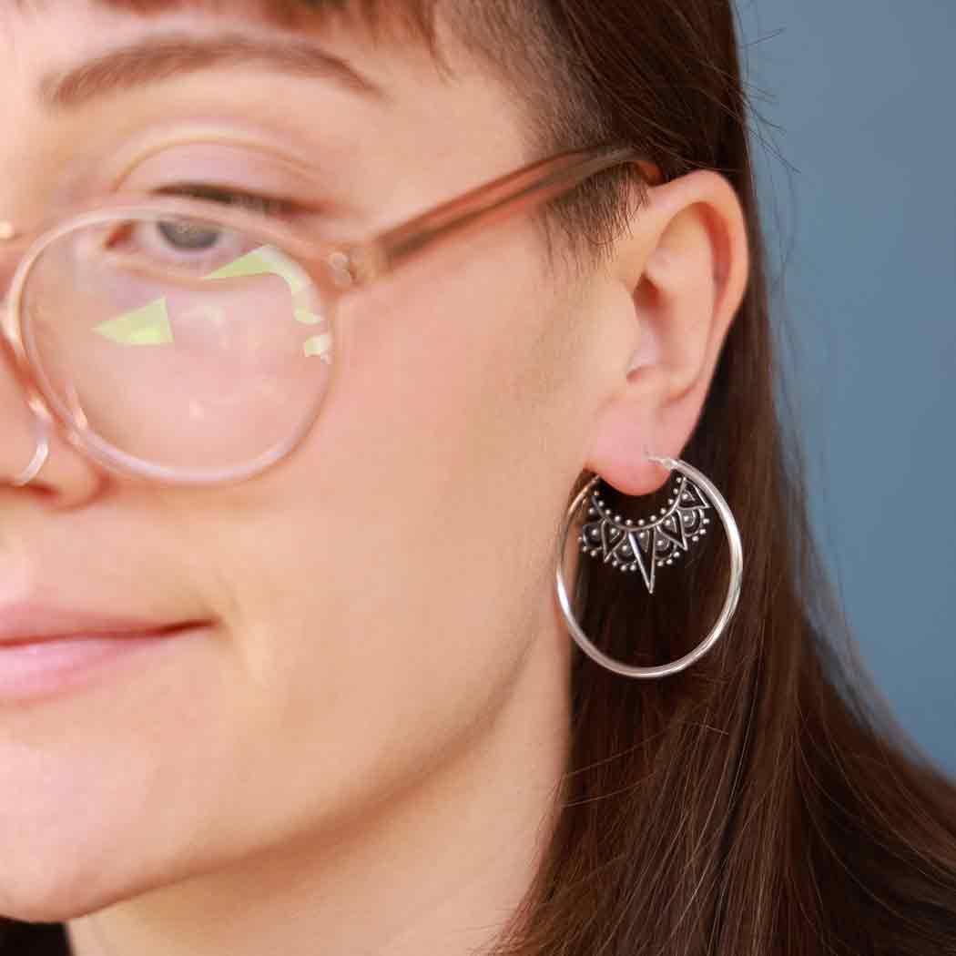 Sterling Silver Art Deco Style Hoop Earring 38x38mm
