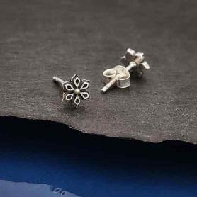 Sterling Silver Mandala Flower Post Earrings 7x7mm