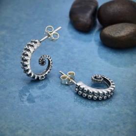 Sterling Silver Octopus Tentacle Post Hoop Earrings 15x4mm