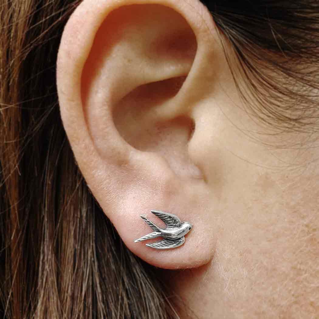 Sterling Silver Swallow Post Earrings 9x11mm
