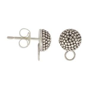 Silver Stud Earring -Circle Carpet Granulation w Loop 9x7mm