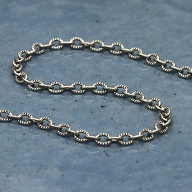 Sterling Silver Chain by the Foot - Small Scored Oval Chain