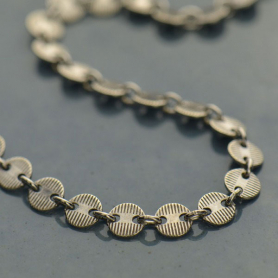 Sterling Silver Chain by the Foot - Round Scored Disc Chain