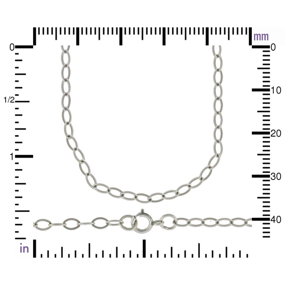 Sterling Silver 18 Inch Chain -  Medium Cable Chain