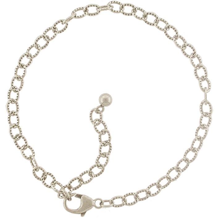 Silver Bracelet -Scored Oval Chain Bracelet DISCONTINUED