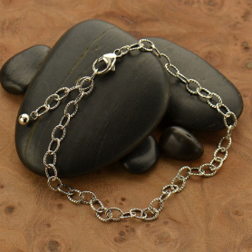 Silver Bracelet -Scored Oval Chain Bracelet DISCONTINUED