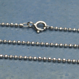 Sterling Silver 24 Inch Chain - Faceted Ball Chain