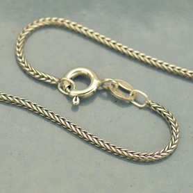 Sterling Silver Finished Chain - 16 inch Round Foxtail Chain
