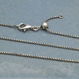 Sterling Silver Chain with Slidebead - adjusts to 22 inches