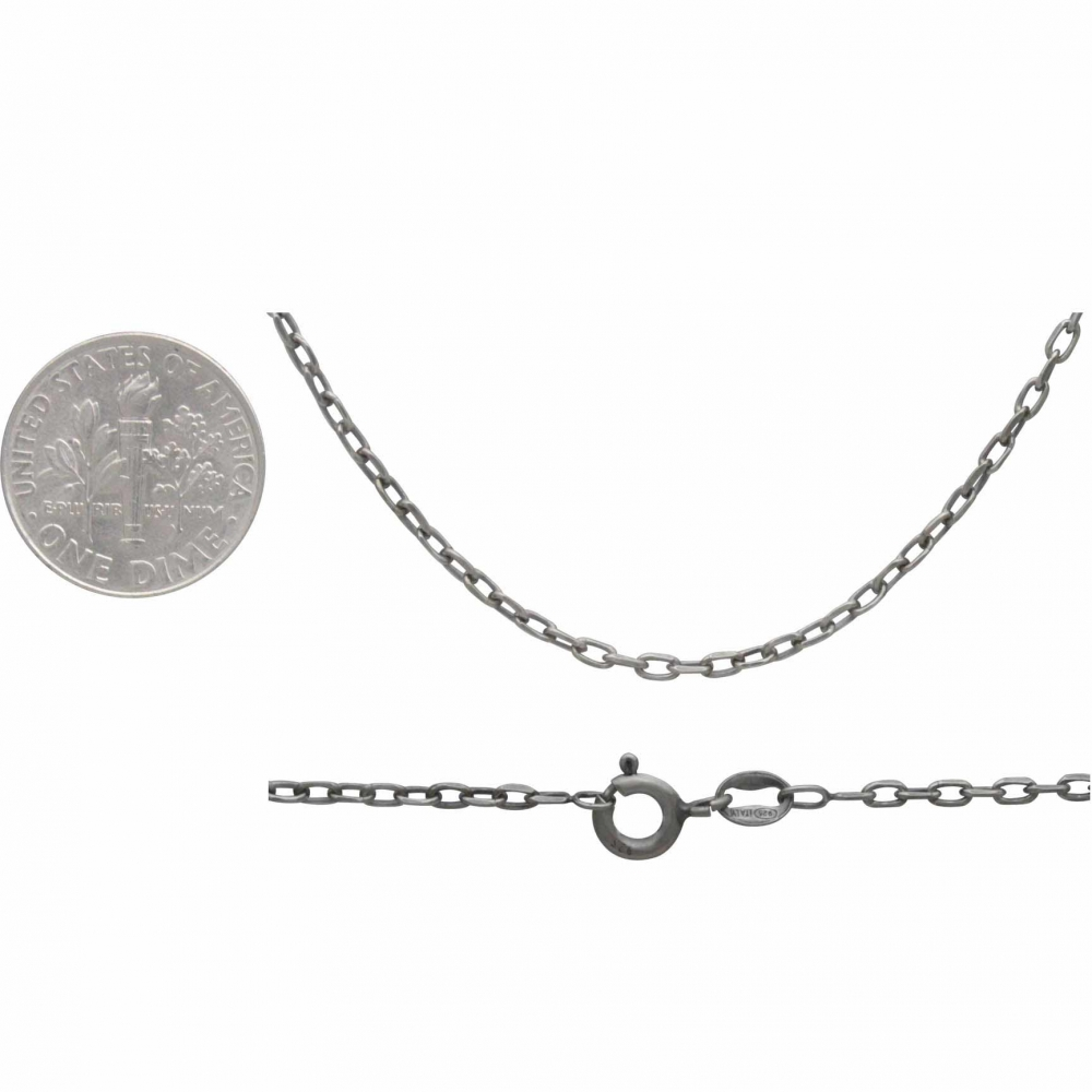 Sterling Silver 18 Inch Chain - Faceted Oval Cable Chain