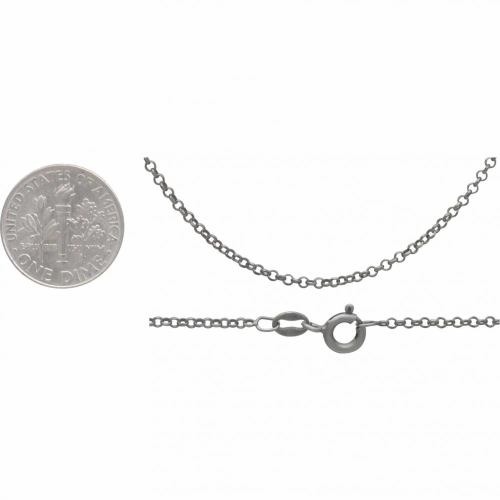 Silver Chain - 18 inch Delicate Round Faceted Cable Chain