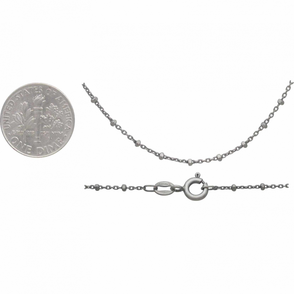 Sterling Silver Chain - 18 inch Diamond Cut Station Chain