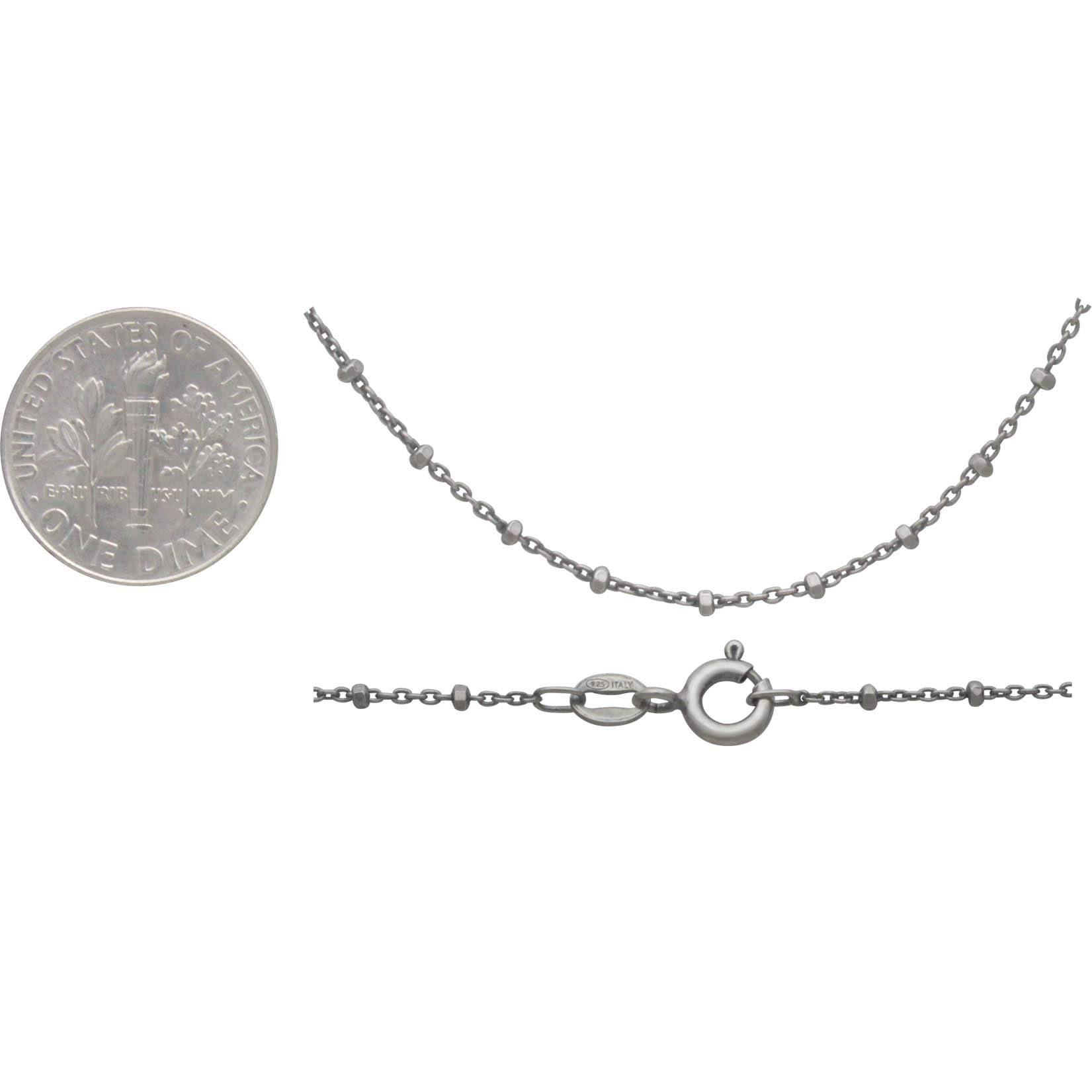 Sterling Silver Chain - 16 inch Diamond Cut Station Chain