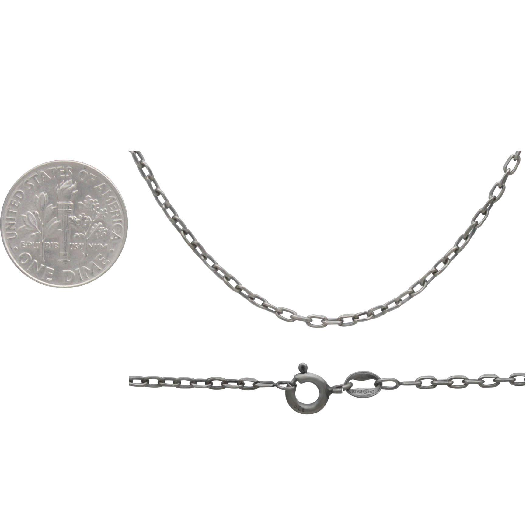 Sterling Silver 16 Inch Chain - Faceted Oval Cable Chain