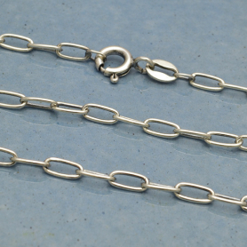 Sterling Silver Chain - 30 inch oval cable chain