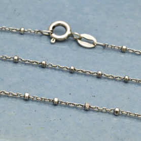 Sterling Silver Chain - 24 inch Diamond Cut Station Chain