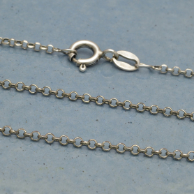 Silver Chain - 16 inch Delicate Round Faceted Cable Chain