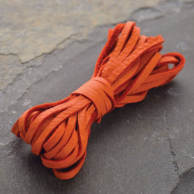 Leather Cord - Orange 3mm Deerskin Laces DISCONTINUED