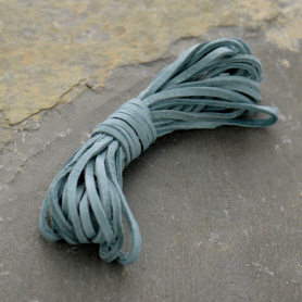 Leather Cord - Stone Blue 2mm Deerskin Laces
