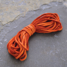 Leather Cord - Orange 2mm Deerskin Laces DISCONTINUED