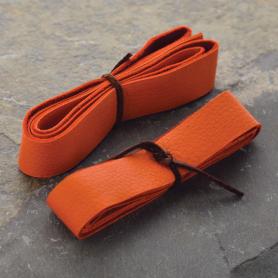Leather Cord - Orange Wide 2cm Deerhide DISCONTINUED