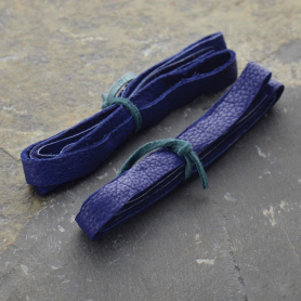 Leather Cord - Cobalt 1cm Deerlace DISCONTINUED