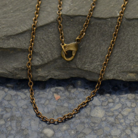Brass 18 Inch Chain - Round Wire Cable Chain