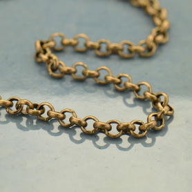 Brass Chain by the Foot - Med Oxidized Round Soldered Links