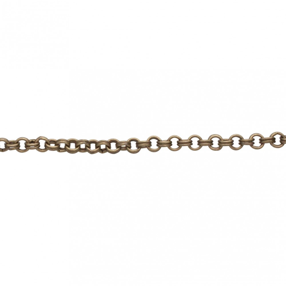 Brass Chain by the Foot - Oxidized Double Round Links