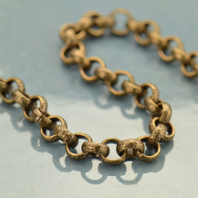 Brass Chain by the Foot - Oxidized Hammered Half Round Links