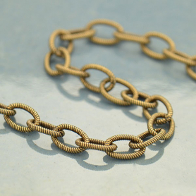 Brass Chain by the Foot - Small Oxidized Scored Oval Links