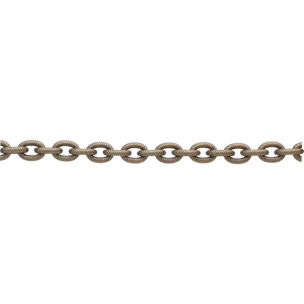 Brass Chain by the Foot - Med Oxidized Scored Oval Links